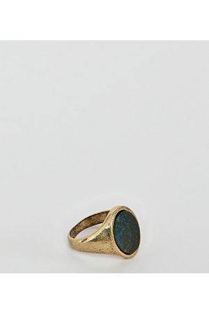 Reclaimed Vintage Inspired signet ring with semi precious Stone exclusive at ASOS-Gold