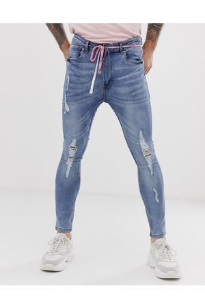 Night Addict Ripped skinny jeans with waist rope-Blue