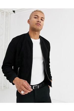 ASOS Suede bomber jacket in black