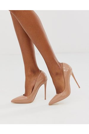 ASOS Penelope stiletto court shoes in beige patent