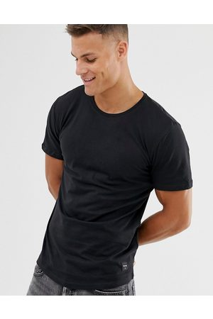 Only & Sons Longline curved hem t-shirt in black