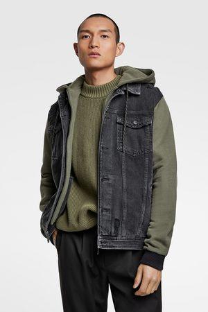 Zara Muži Džínové bundy - Kombinovaná džínová bunda s kapucí