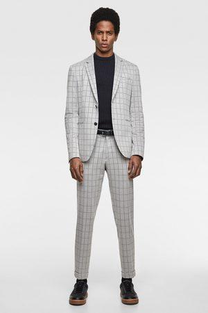 Zara Kostkované oblekové sako comfort knit