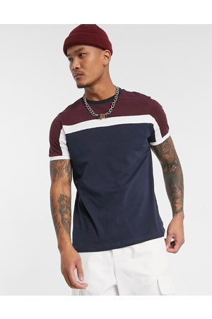 ASOS T-shirt with colour block in navy