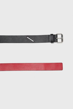 Zara Muži Pásky - Two-tone leather belt