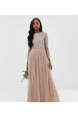 Maya Ženy Maxi - Bridesmaid long sleeve maxi tulle dress with tonal delicate sequins in taupe blush-Brown