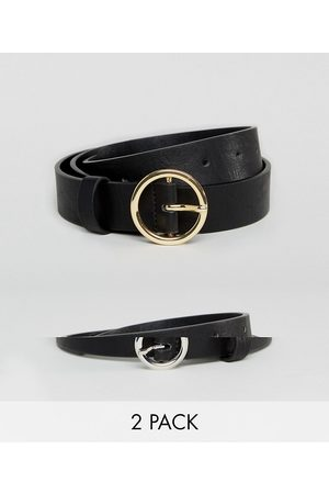 ASOS 2 pack circle buckle waist and hip jeans belts-Black