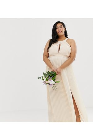 TFNC Ženy Maxi - Bridesmaid exclusive pleated maxi dress in pearl pink
