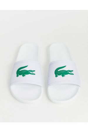 Lacoste Croco sliders in white