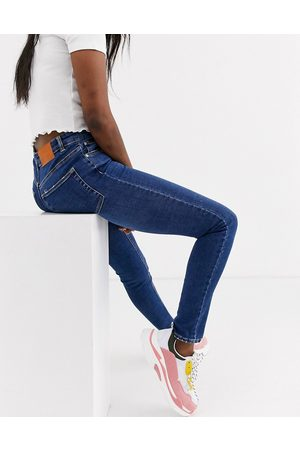 Pull&Bear High rise skinny jeans in mid blue