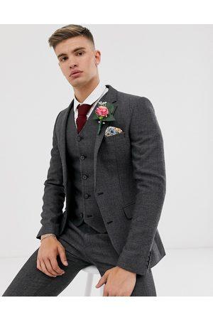 ASOS Wedding super skinny suit jacket in charcoal herringbone-Grey