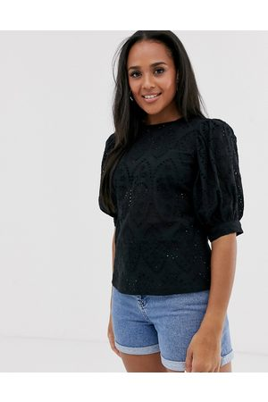 ASOS Broderie short sleeve top with volume sleeves-No Colour