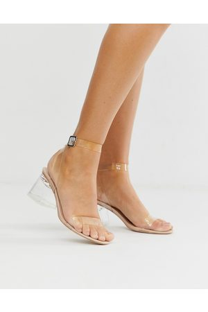 Public Desire Afternoon mid clear heeled sandals-Beige