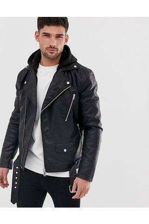 River Island Muži Kožené bundy - Faux leather biker jacket with hood in black