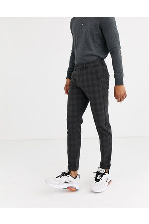 Jack & Jones Muži Chino - Intelligence smart check trousers in grey