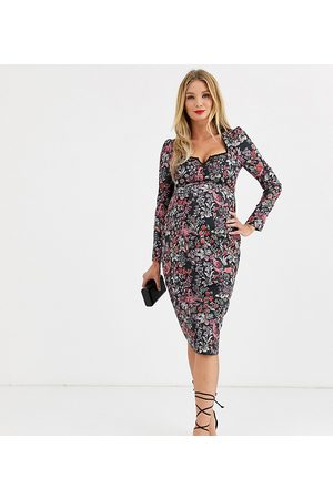 HOPE & IVY Sweetheart midi dress with lace trim in floral print-Multi