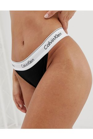 Calvin Klein Modern Cotton high leg tanga in black
