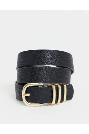 Pieces Gold buckle belt in black-Beige