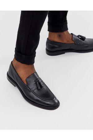 WALK LONDON West tassel loafers in black pebble leather