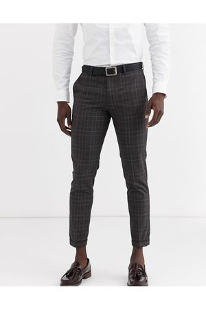Jack & Jones Premium check suit trousers in grey
