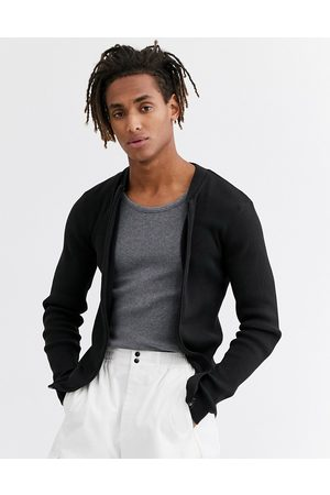 ASOS Muži Bombery - Muscle fit ribbed bomber in black