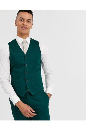 ASOS Muži Společenské vesty - Wedding skinny suit waistcoat in cotton in forest green