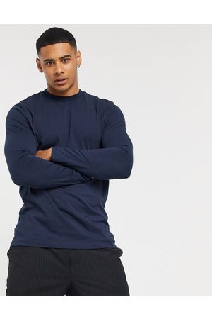 ASOS Long sleeve t-shirt with crew neck in navy