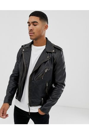 Bolongaro Biker leather jacket in antique finish-Black