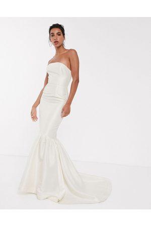 ASOS Bandeau wedding dress with trumpet hem-Cream