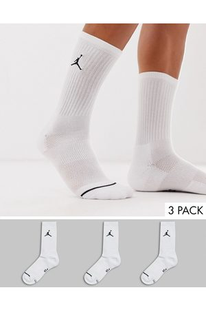 Jordan Nike 3 pack crew socks with logo in white