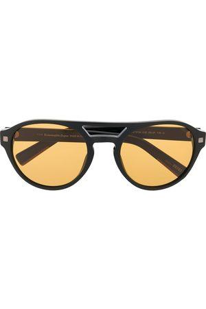 Ermenegildo Zegna Matte-finish round frame sunglasses