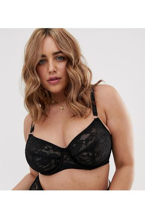 City Chic Audrey stretch lace underwire bra in black