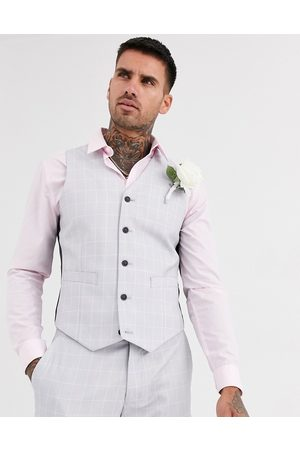 ASOS Wedding slim suit waistcoat in windowpane check in ice grey