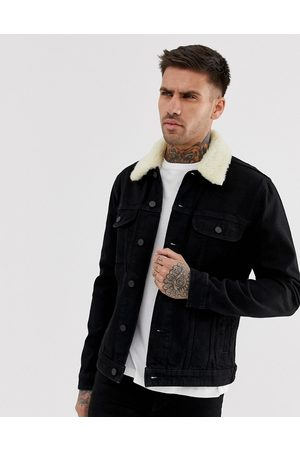 ASOS Muži Džínové bundy - Denim jacket with detachable borg collar in black