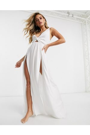 ASOS Tie back beach maxi dress with twist front detail in white