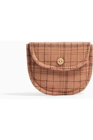 Zara Kostkovaná bavlněná kabelka přes rameno