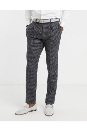 ASOS Muži Úzké nohavice - Slim suit trousers in blue and grey 100% lambswool tweed