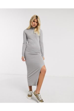 Oasis Ženy Volnočasové - Knitted dress with split in grey-Red