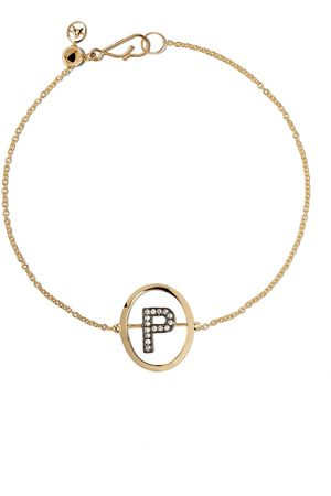 ANNOUSHKA 18kt yellow gold diamond initial P bracelet