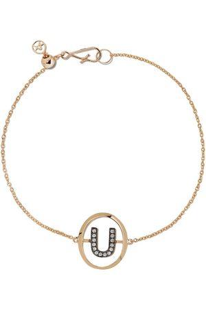 ANNOUSHKA 18kt yellow gold diamond initial U bracelet