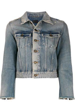 Saint Laurent Ženy Džínové bundy - Stonewashed denim jacket