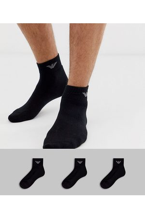 Emporio Armani 3 pack trainers socks in black