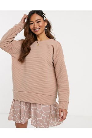 ASOS 2 in 1 rib sweat dress with giraffe print hem-Pink