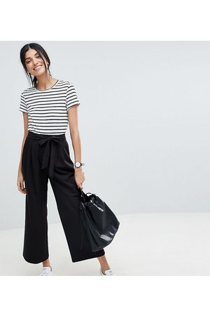 ASOS Ženy Culottes - ASOS DESIGN Tall mix & match culottes with tie waist-Black