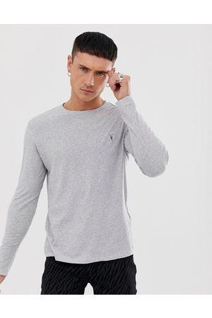 AllSaints Tonic long sleeve ramskull logo t-shirt in grey marl