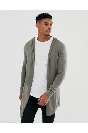 ASOS Hooded open cardigan with curved hem in khaki-Brown