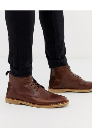 ASOS Muži Šněrovací - Desert chukka boots in tan leather with suede detail