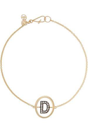 ANNOUSHKA 18kt yellow gold diamond initial D bracelet