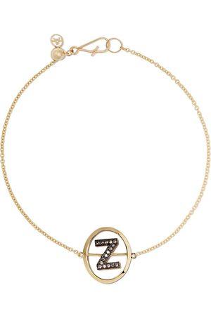 ANNOUSHKA 18kt yellow gold diamond initial Z bracelet