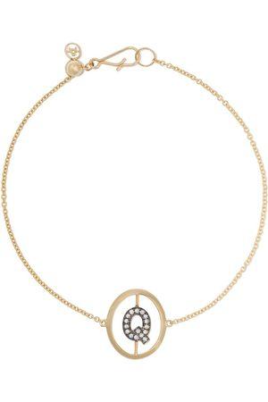 ANNOUSHKA 18kt yellow gold diamond initial Q bracelet